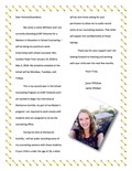 Welcome letter from Ms. Whittam