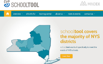 SchoolTool website home page with map of New York state
