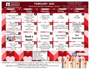 S-E Lunch Menu (February 2020)