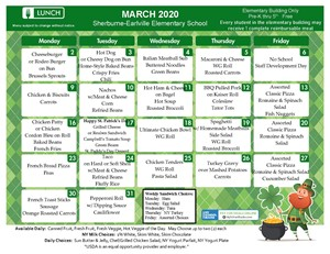 S-E Lunch Menu (March 2020)