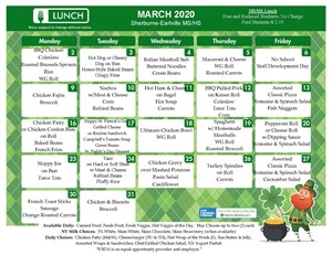 S-E MS/HS Lunch Menu (March 2020)