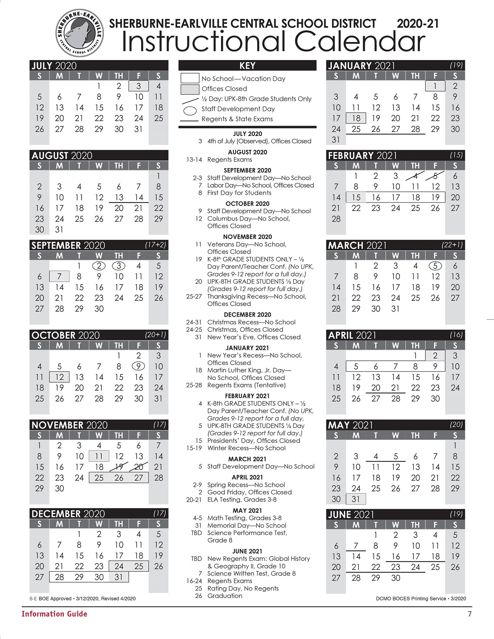 S-E Instructional Calendar 2020-2021