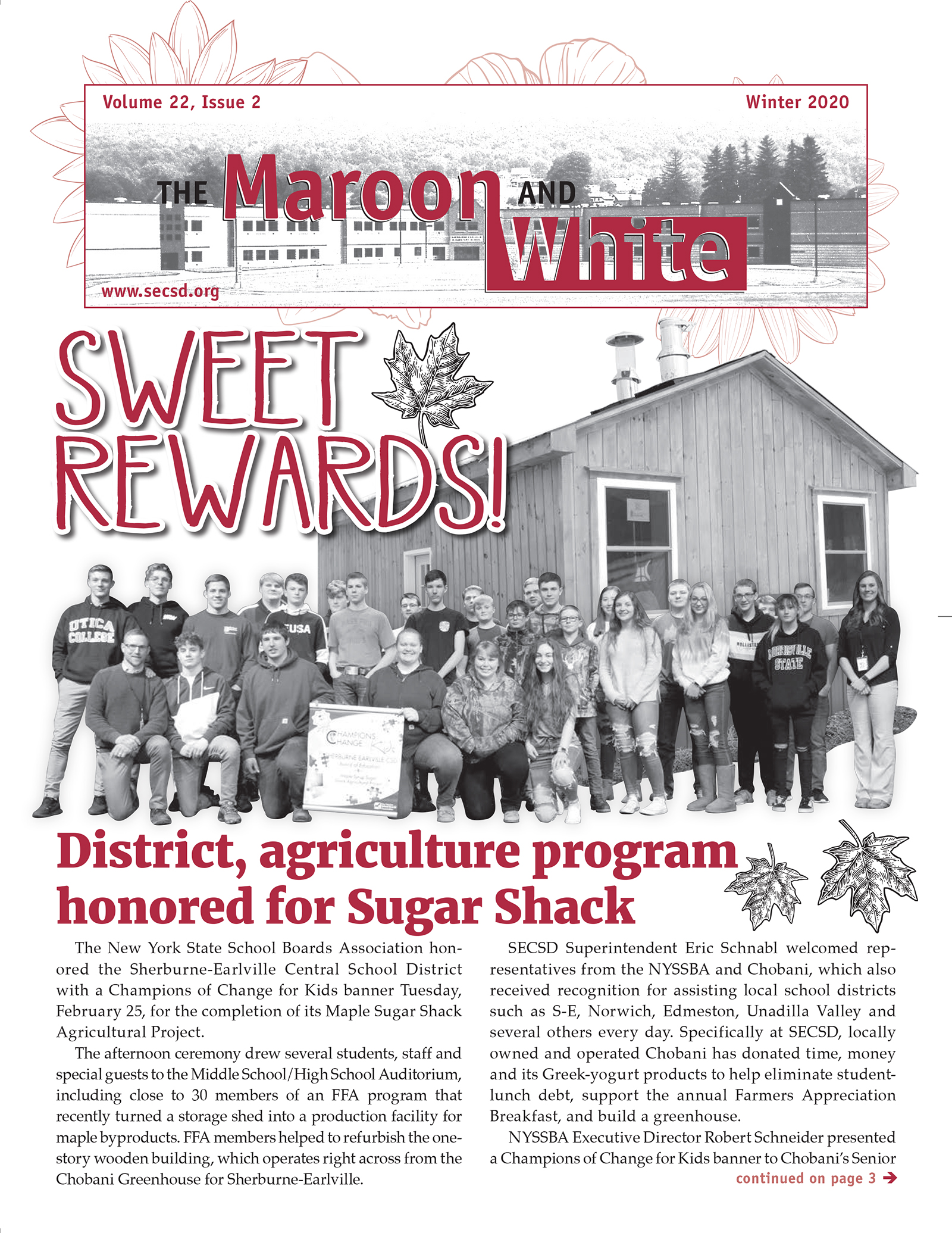 Maroon & White Winter 2020 Newsletter Cover