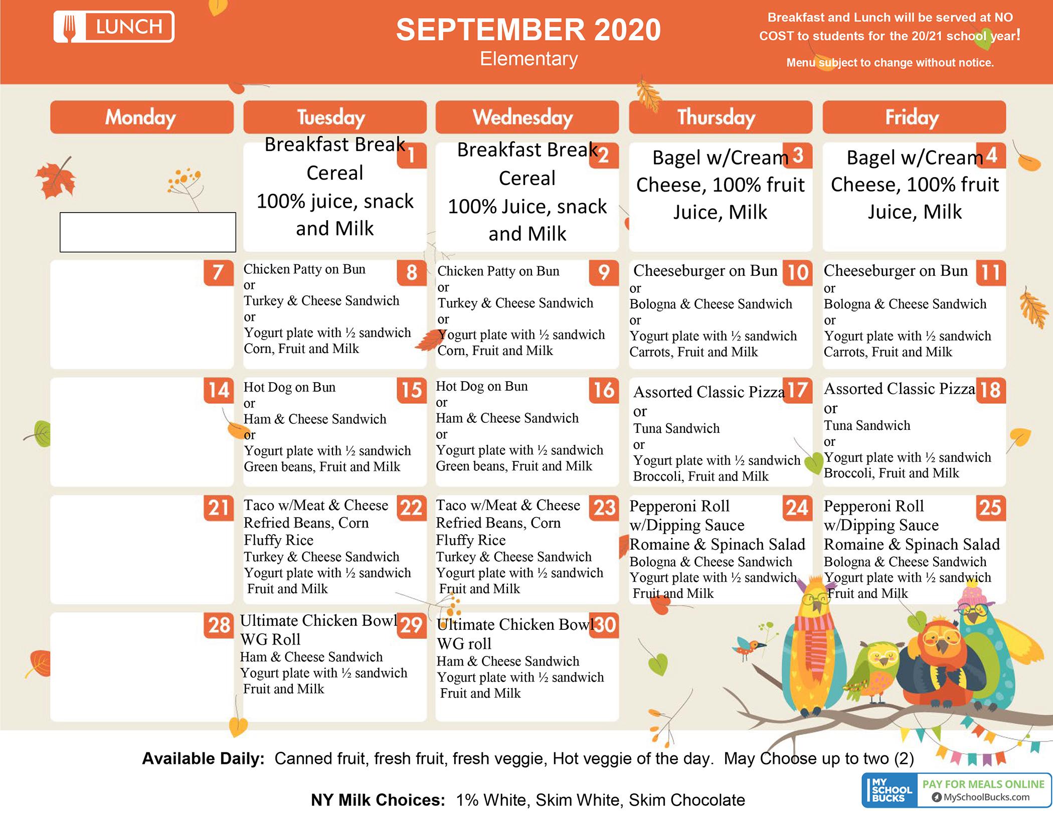 S-E September 2020 Menu - Elementary