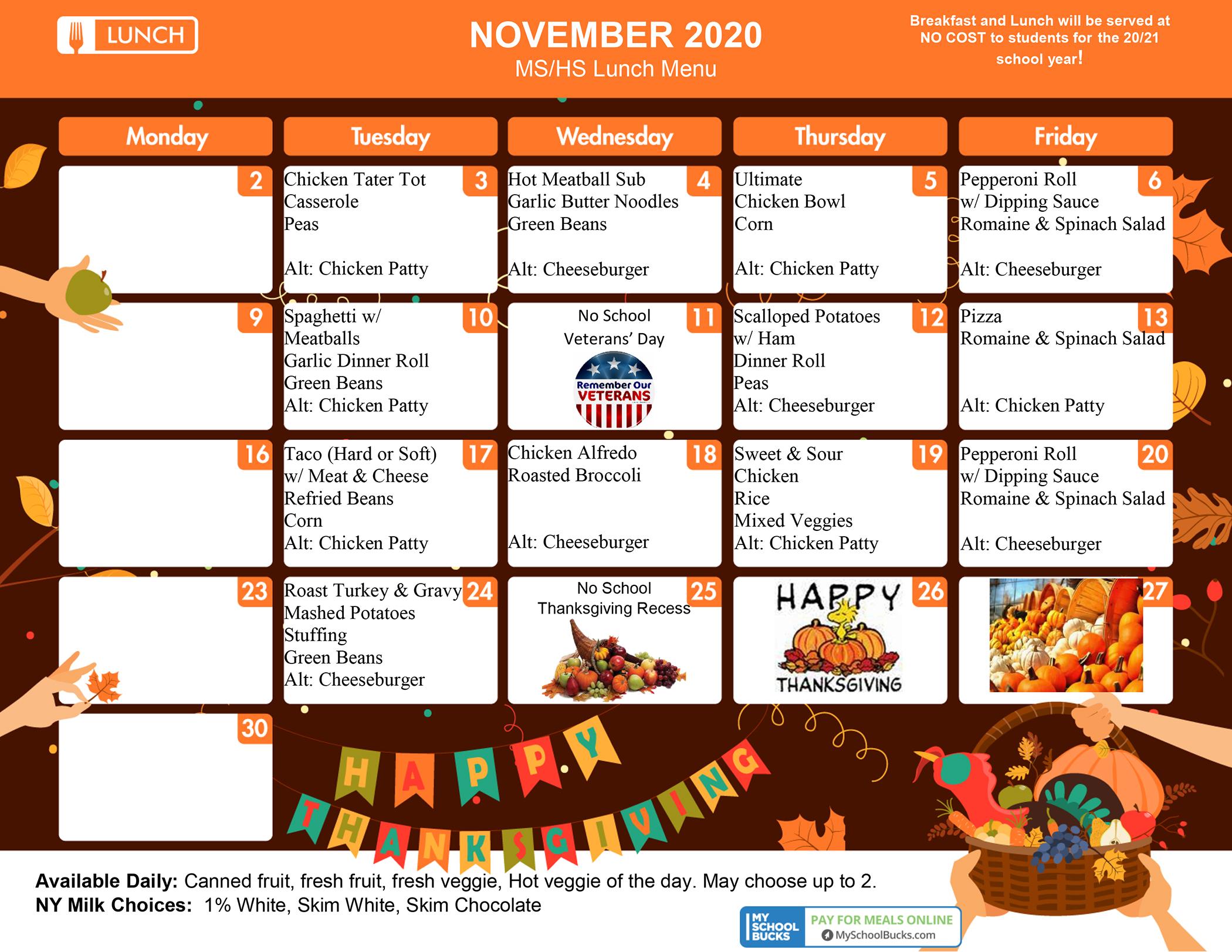 SEMS/SEHS Lunch Menu (November 2020)