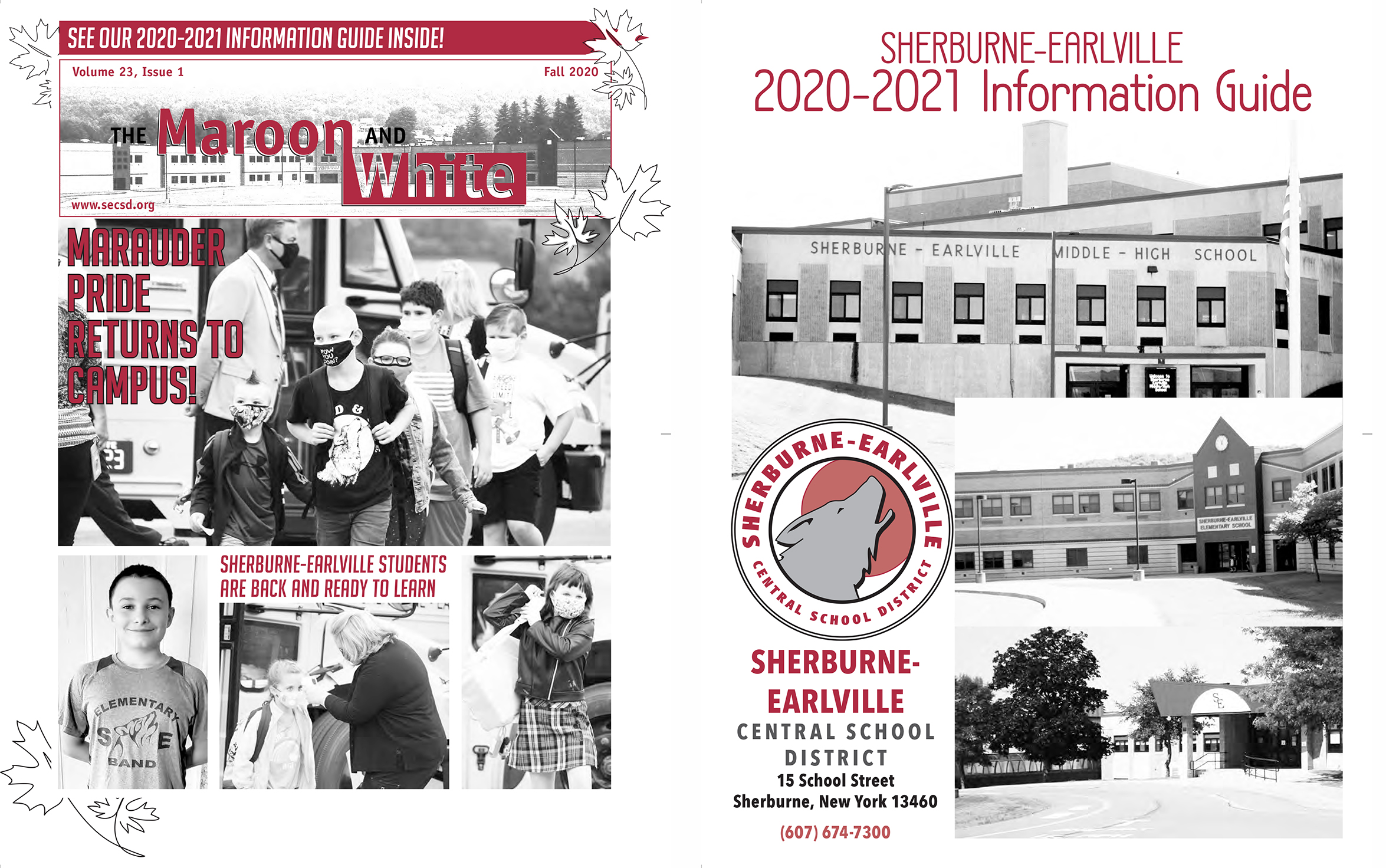 Maroon & White Fall 2020 Newsletter Covers