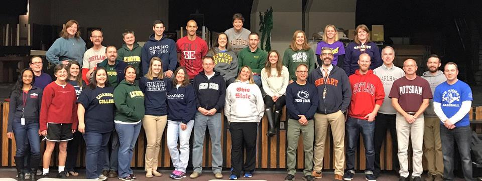 Teachers wear their college pride gear.