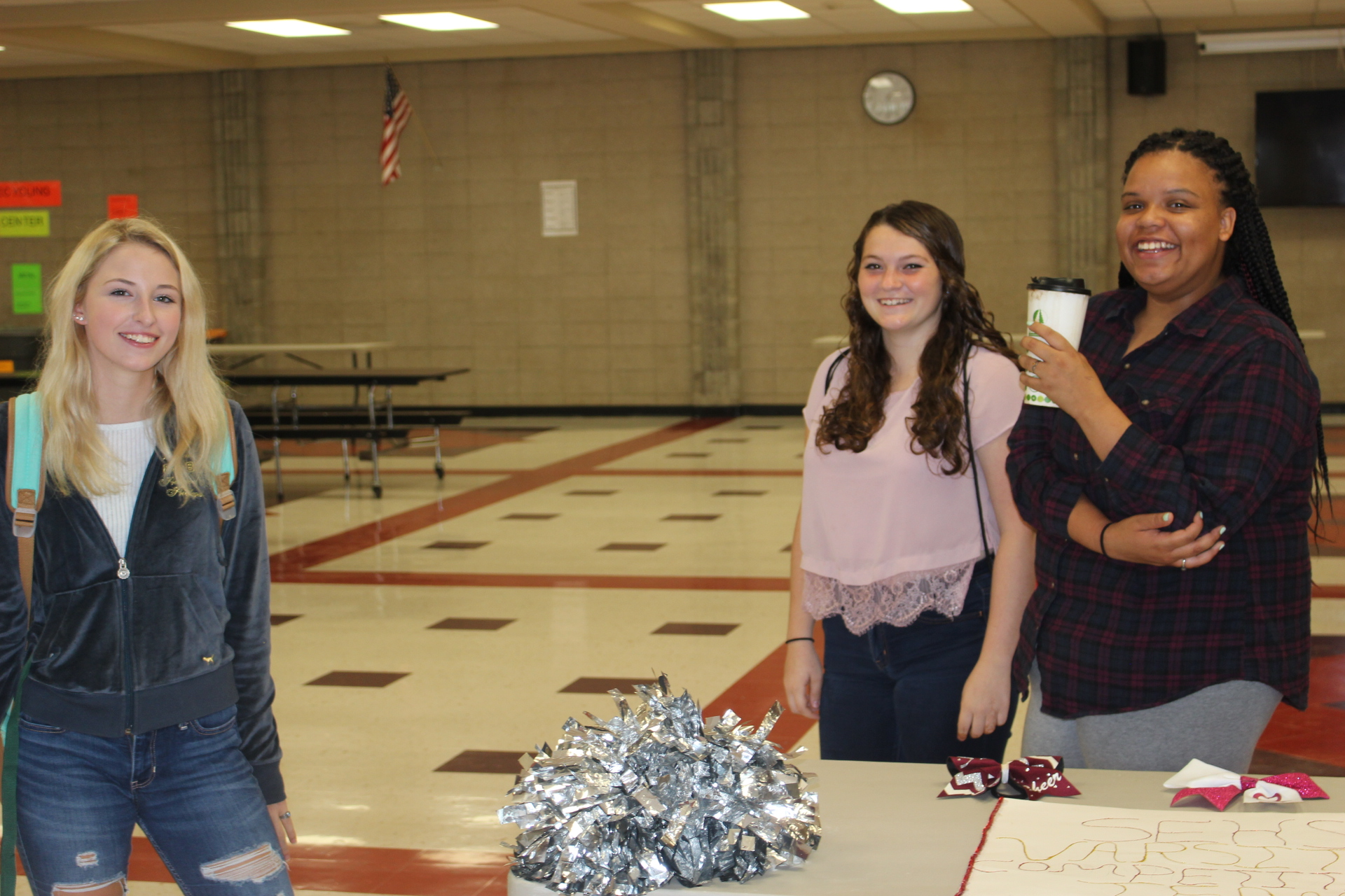 Students set up tables to advertise clubs and activities