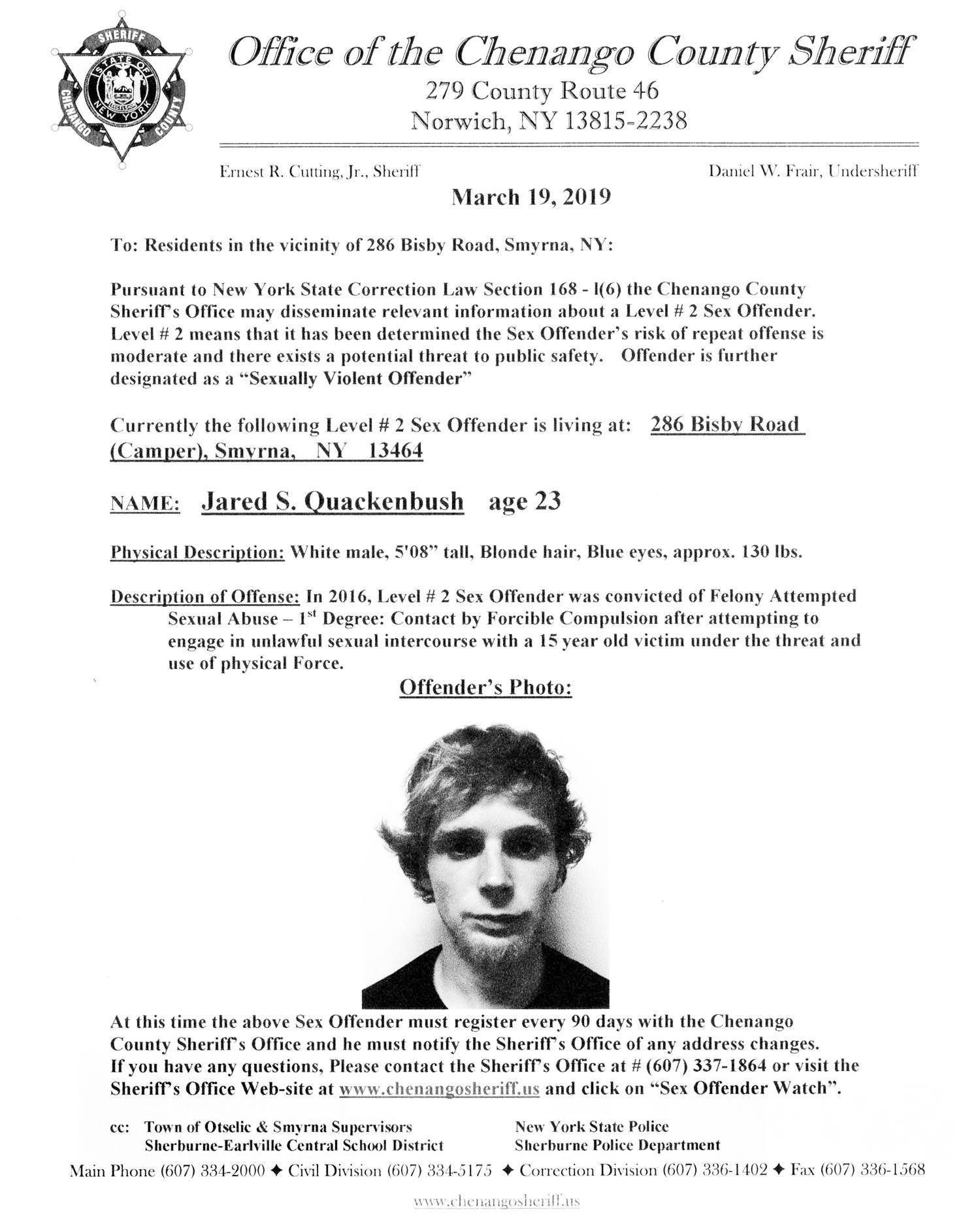 Sex Offender Jared Quackenbush