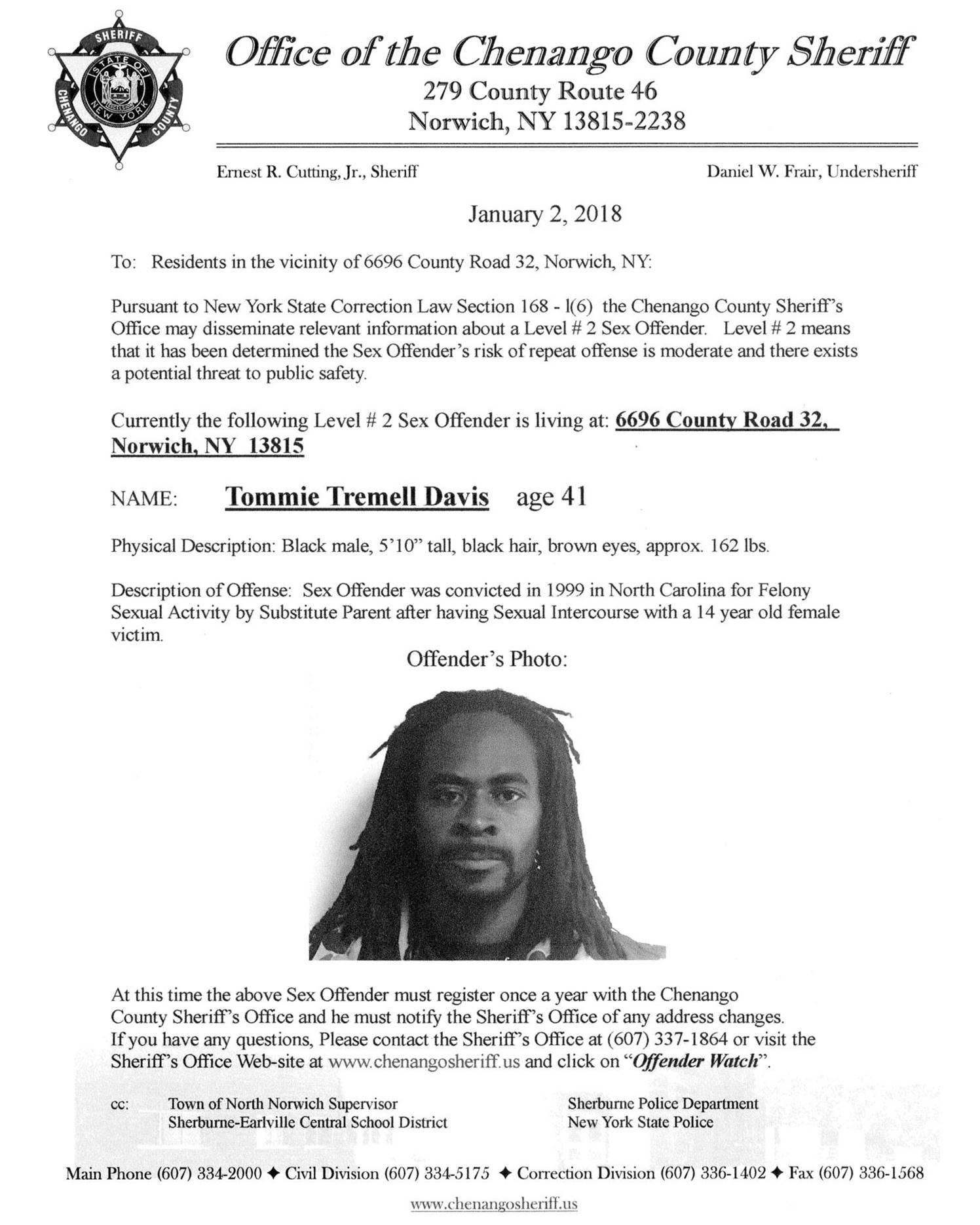 Sex Offender Tommie Davis
