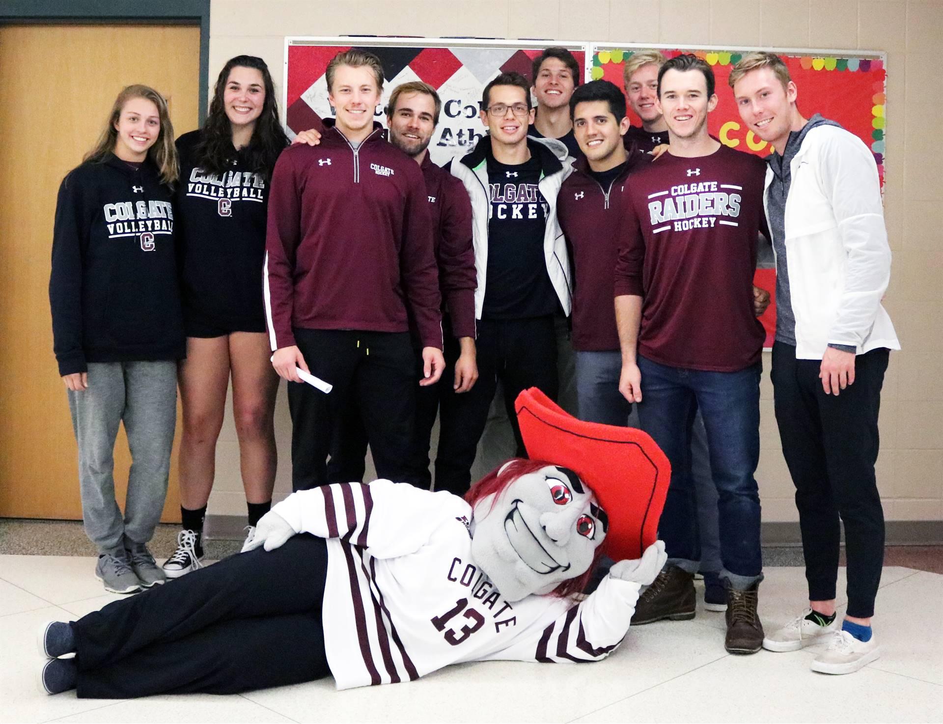 Colgate students & mascot