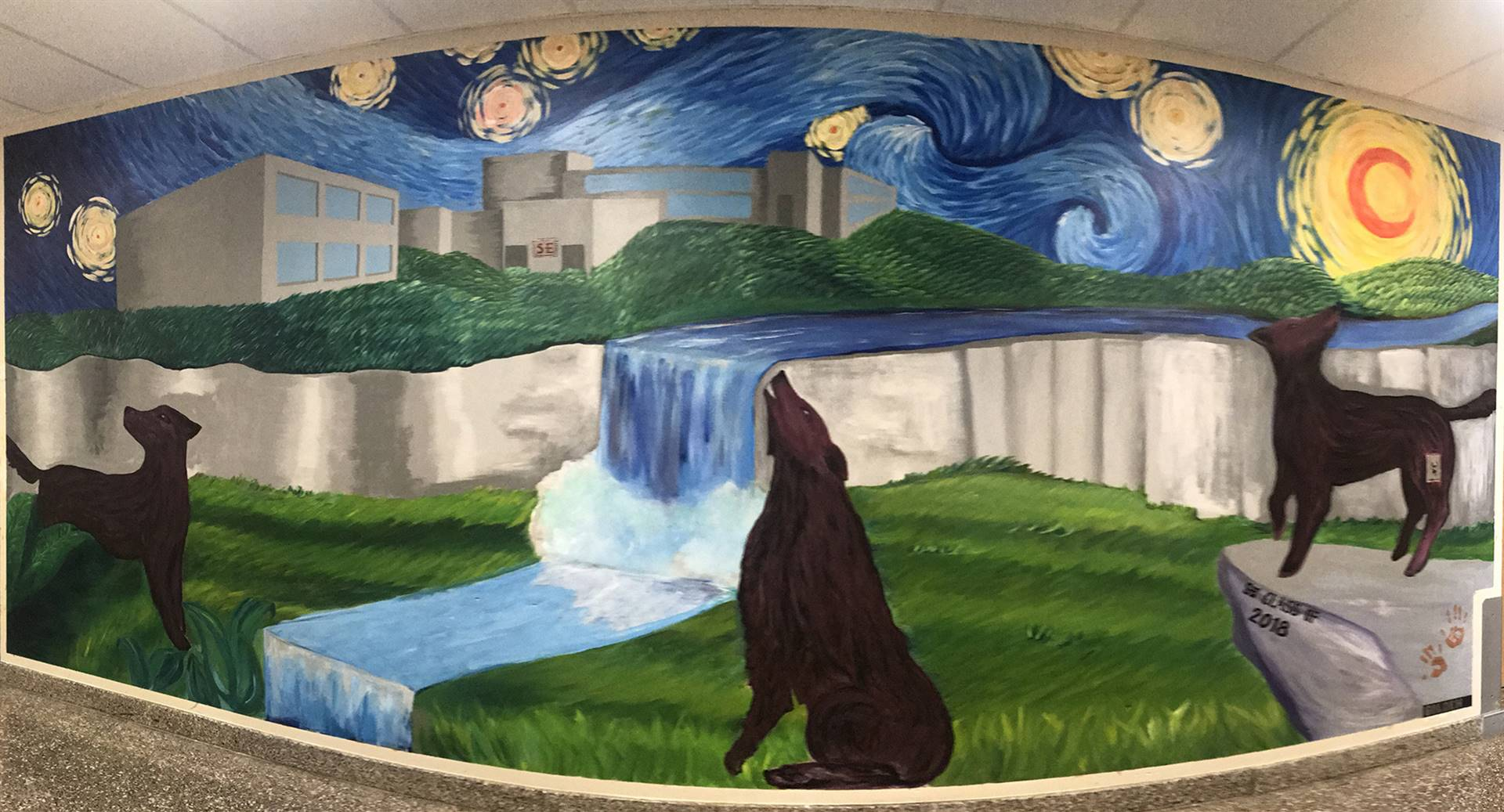 Wall Art Mural with wolves, water and sun