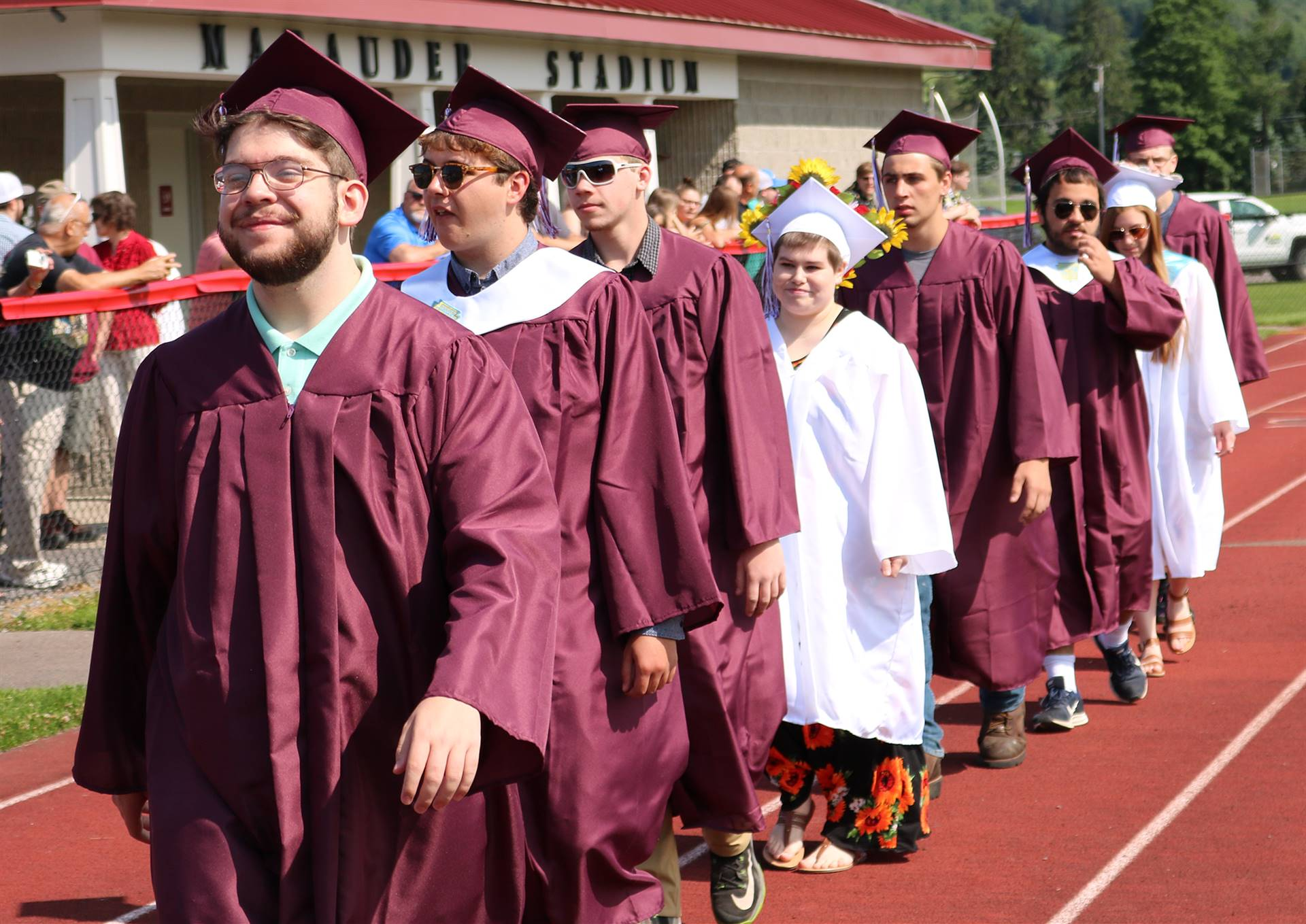 Sherburne-Earlville students in caps and gowns lined up for graduation