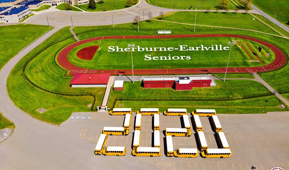 School Buses in 2020 pattern at Sherburne-Earlville